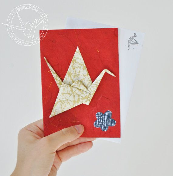 Introducing new origami greeting cards at the Teeny Folds shop on Etsy. These handmade cards are blank on the inside, making it perfect for any greeting, any occasion. This beautiful card is a gold peace crane on red card. #etsy #origami #crane #stationery #handmade #cards