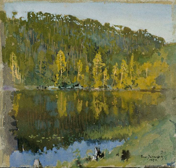 """Eero Järnefelt (Finnish, 1863-1937) - """"Metsälampi, maisemaharjoitelma"""" (Forest pond, a landscape study), 1894 - Finnish National Gallery"""