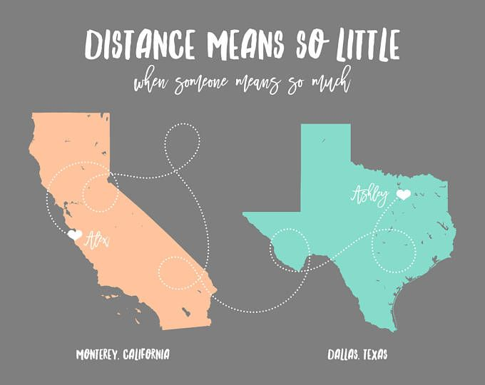 Long Distance Relationship Girlfriend Graduation Gift For Brother Sister Best Friend Moving Away Art Unique 2 Map Artwork Long Distance Aunt