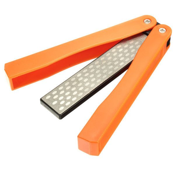 125mm 400 600 Grit Double-sided Sharpener Folding Pocket Diamond Knife Sharpening Stone Sh. Description:  125mm 400&600 Grit Double-Sided Sharpener Folding Pocket Diamond Knife Sharpening Stone Sharpener     Specification:  1. Material: Emery  2. Diamond Coated: 400&600grit 3. Color: Orange  4. Plastic Material:  ABS  5. Size: 125mm x 32mm x 16mm/4.92' x 1.25' x 0.63'  6. Applicable scope: Widely used for outdoor knives, garden tools etc.  7. Quantity: 1pc     Features…