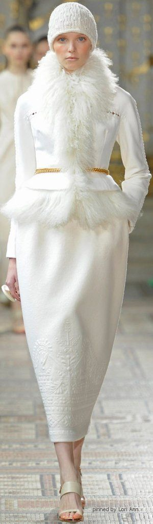 Christophe Josse Couture Fall 2013 Minus the hat, I think this would be a pretty suit to get married in at Christmas or during the winter.