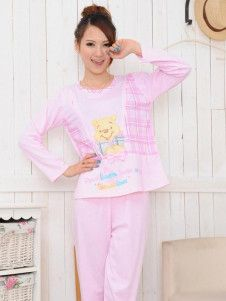 Sweet Pink Animal Pattern Cotton Maternity Sleepwear