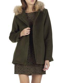 Manteau à capuche en laine et fourrure Kaki by SUNCOO
