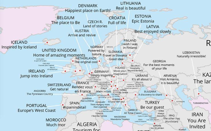 Die Weltkarte der Tourismus-Slogans - Engadget Deutschland