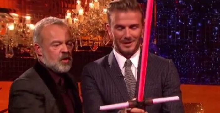 Watch video of David Beckham Being Challenged In Light Saber Battle on Graham Norton Show http://ow.ly/W7Uof