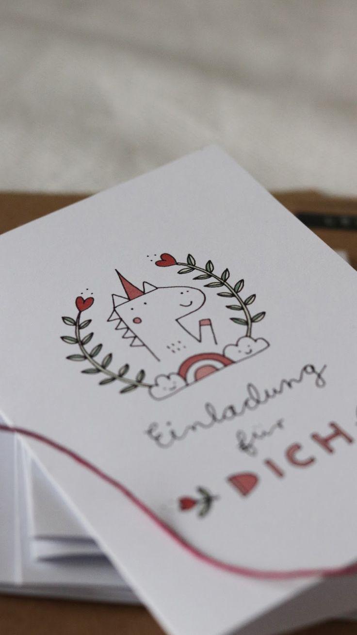 Einladungskarten Einhorn