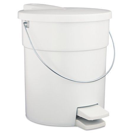 Rubbermaid Commercial 4.5 Gallon Indoor Utility Step-On Waste Container, White