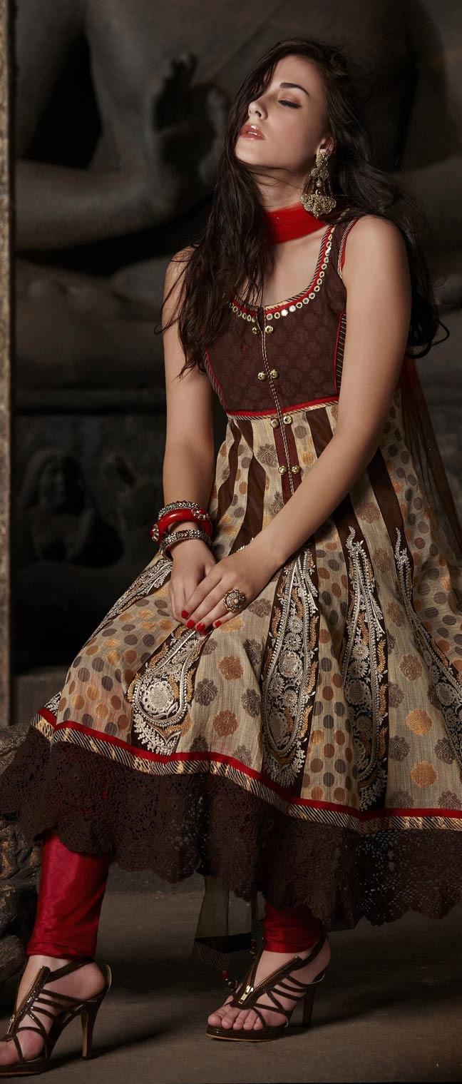 #Brown and Beige Net Readymade #Churidar Kameez @ $170.76
