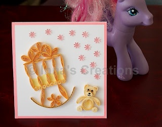 Baby girl simple quilling Card
