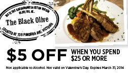 The Black Olive in Victoria BC - Coupon for $5 OFF when you spend $25 or more!