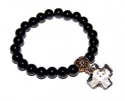 Bransoletka Gothica: Black Diamond Cross Swarovski #bracelet #bransoletka #swarovski #cross