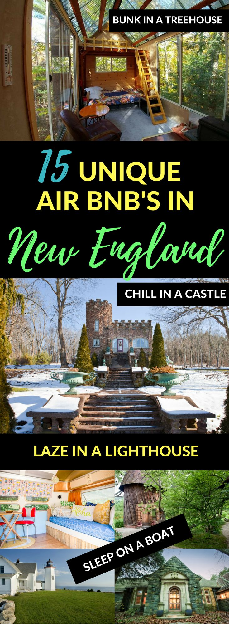 New England has so many incredible AirBnb properties! Want to stay in a treehouse, tiny house, or even a castle? From the romantic to the quirky, New England vacation rentals don't get much better than these.   Vacation rentals Vermont New Hampshire Massachussetts Maine Rhode Island Connecticut