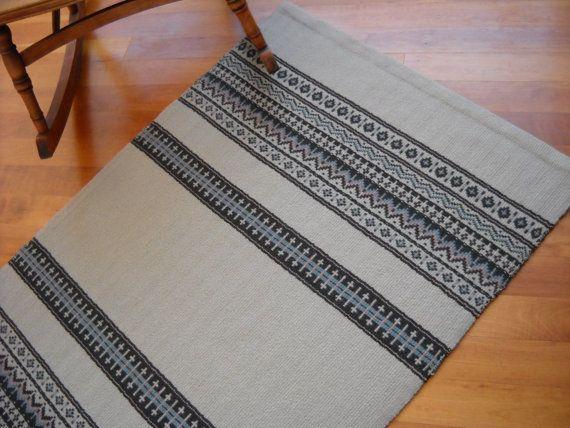 "Handwoven Rug - Woven Wool Rug - Swedish Pattern - Scandinavian Design - Sandstone Beige, Cocoa Brown, Mineral Blue, Soft Coral - 32"" x 50"""