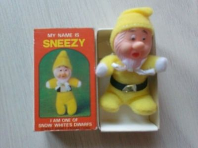 Vintage Snow White Dwarf SNEEZY Beanie Baby MatchBox Toy Doll (03/08/2012)