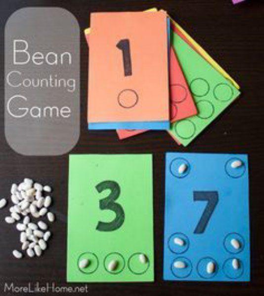 こちらは、紙に数字と数字の数だけ丸を書けば出来上がり。小豆やインゲン豆などを一緒に袋にいれておけば、OK。 子供にゲーム感覚で、数を教えることができますね!