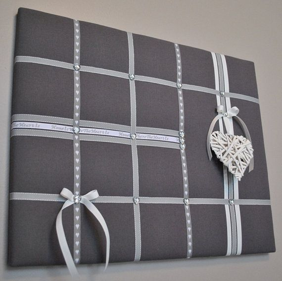 Grey memo board with white wicker heart by MemoBoardsNMore on Etsy