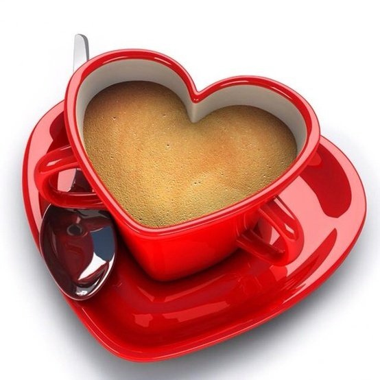 red, heart-shaped coffee cup
