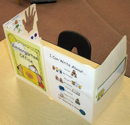 Writing Office with resources for sight words, writing ideas, letters, etc. I made these for my third graders. It was our chattiest time of the day and they really helped. They would say don't bother me I'm working in my office! :)
