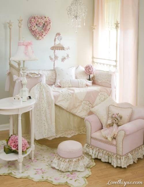 Nursery girl pink home pretty baby soft decorate frilly nursery baby