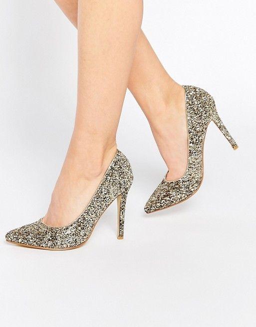 True Decadence | Блестящие золотистые туфли-лодочки на каблуке True Decadence
