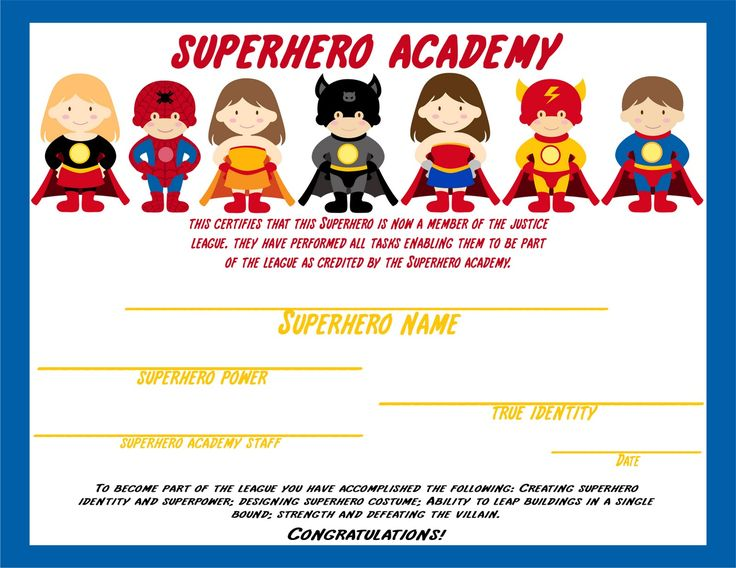 Superhero - certificate awarded after kids complete activities (Elegant Affairs)