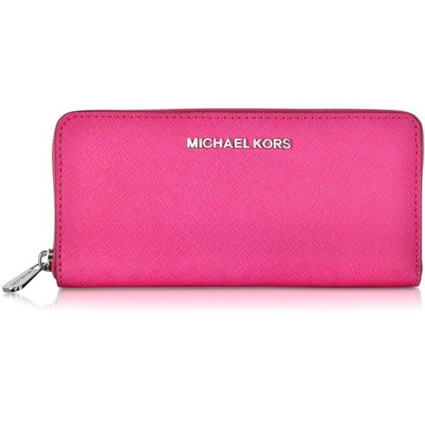 Michael Kors Jet Set Travel Saffiano Leather Continental Wallet ($138) ❤ liked on Polyvore featuring bags, wallets, raspberry, zipper bag, michael kors, travel zip bags, zipper wallet and michael kors bags