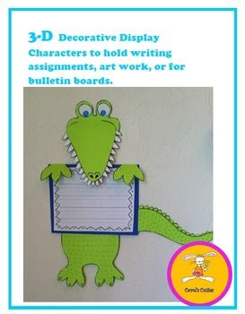 alligator craft -Sink your teeth into a new school year!!  This alligator will happily hold any student work, signs, or art.  Use him in the hallway as a whimsical decoration or on bulletin boards to hold titles.  This freebie includes directions, patterns, and tips.