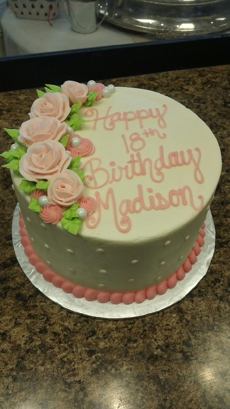 41 best girls birthday cake images on pinterest girl birthday pink and white flower birthday cake dhlflorist Image collections