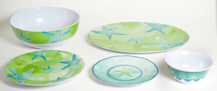 Aqua and Lime Indoor-Outdoor Dinnerware Collection