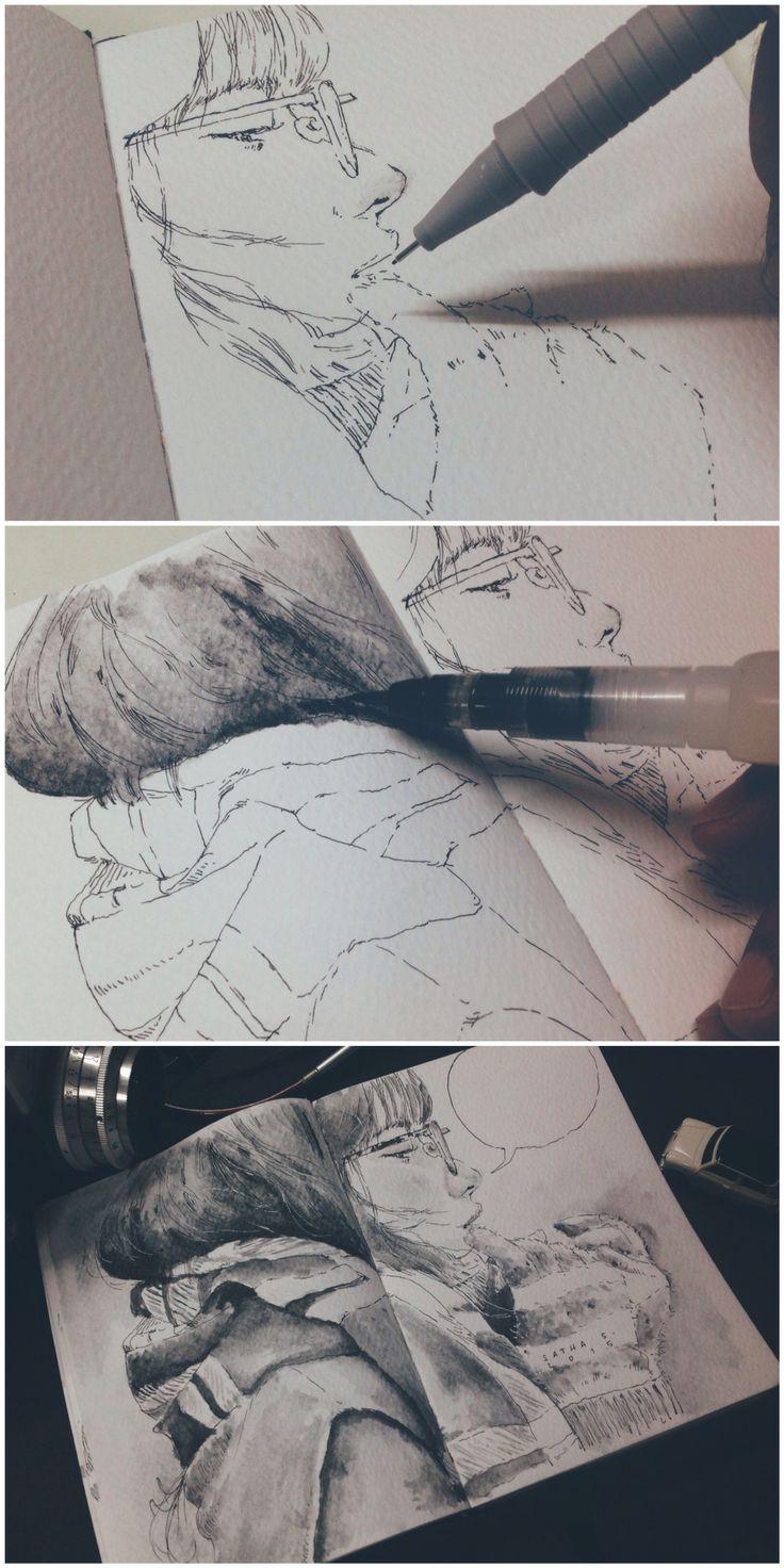 Pen & Ink on my sketchbook                                                                                                                                                     More
