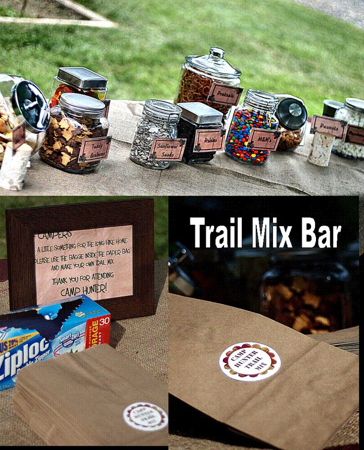 Trail Mix Bar for camping birthday party