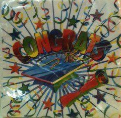 """Congrats"" Party Napkins for Graduation 20 Luncheon Napkins and 24 Beverage Napkins by Designwear. $5.99. 24 Beverage Size Napkins 2-ply 9-7/8 x 10 inch. White with rainbow colors cap, streamers and stars. 20 Lunch Size Napkins 2-ply 13 x 13 inch. ""Congrats"" Party Napkins for Graduation 20 Luncheon Napkins and 24 Beverage Napkins"