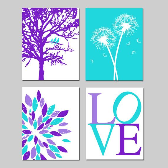 Purple Aqua Baby Girl Nursery Art Quad - Birds in a Tree, LOVE, Abstract Floral, Dandelions - Set of Four 8x10 Prints - Choose Your Colors