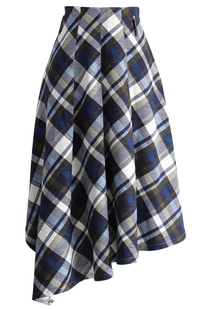 Swing Melody Asymmetric Skirt in Blue Plaid - New Arrivals - Retro, Indie and Unique Fashion