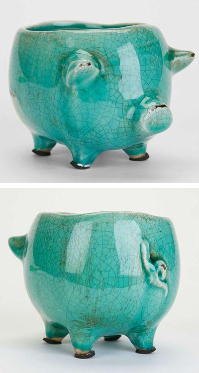 Glazed Ceramic Pig Planter