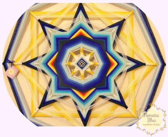 Mandala de 8 pontas, 75cm. A mandala de 8 pontas exerce uma energia calma e poderosa. É a vibração da realização dos sonhos e desejos no campo matéria.