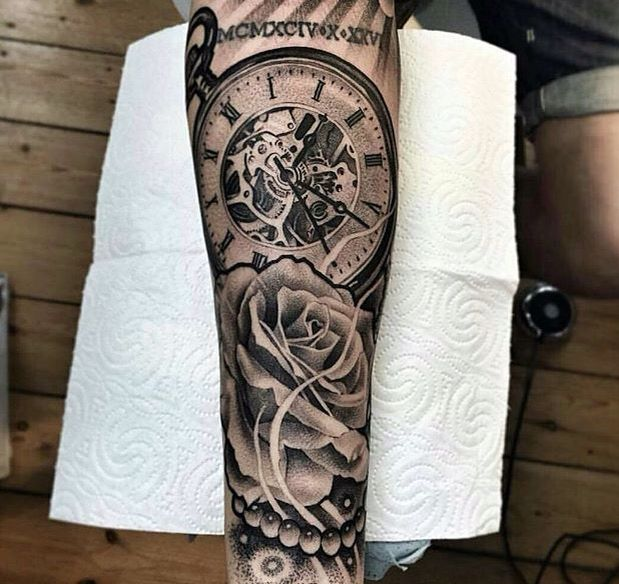Black And Gray Clock And Skull Tattoos On Bicep: Sick Arm Piece Tattoo