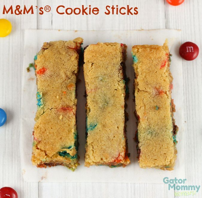M&M's®️️ Cookie Sticks are a fun twist on classic cookies and cookie bars‬ - M&M's®️️ Cookie Sticks Recipe on Gator Mommy Reviews