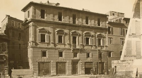 The Palazzo Jacopo da Brescia was located in the Borgo district. It was built between 1515-1519 for Jacopo da Brescia. Its design is commonly attributed to Raphael, and was based to Bramante's nearby Palazzo Caprini (also demolished). The palace, which had a triangular footprint, stood at the confluence of Borgo Nuovo and Borgo S.Angelo. It was demolished to allow the construction of the Via della Conciliazione in 1936, and rebuilt (with a different footprint) along Via dei Corridori.