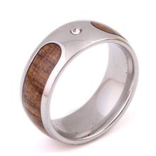 316L Ocelový prsten pánské snubní prsten Retro Struktura dřeva design Party dárky (Čína (pevninská část))