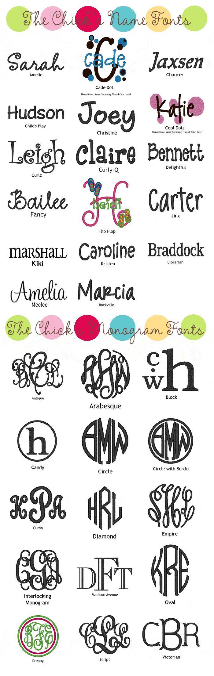 Font styles & monograms.