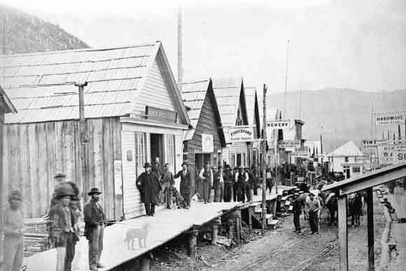 A street in Barkerville, BC during the gold rush.