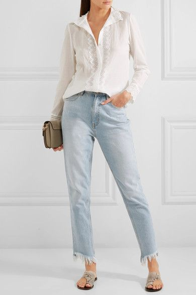 Vanessa Bruno - Gina Cotton, Linen And Ramie-blend Voile And Lace Shirt - White - FR38