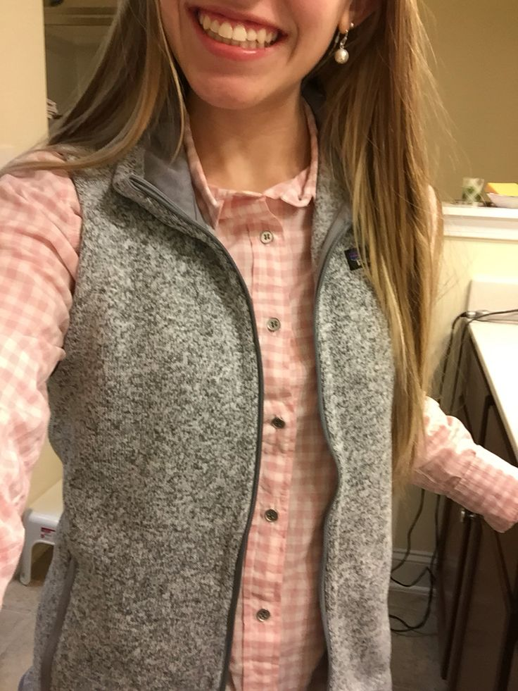 Grey Better Sweater Patagonia vest with J.Crew shirt