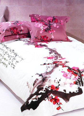 4-pc Classical White And Red Cotton Duvet Cover Oriental Bedding Set  US$  79.99