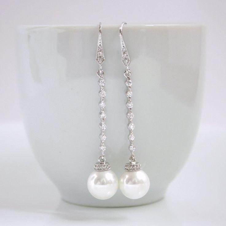 Pearl Jewelry Bridal Earrings Cubic Zirconia Pearl Earrings with Swarovski White Pearls Earrings Wedding Earrings. $32.00, via Etsy.
