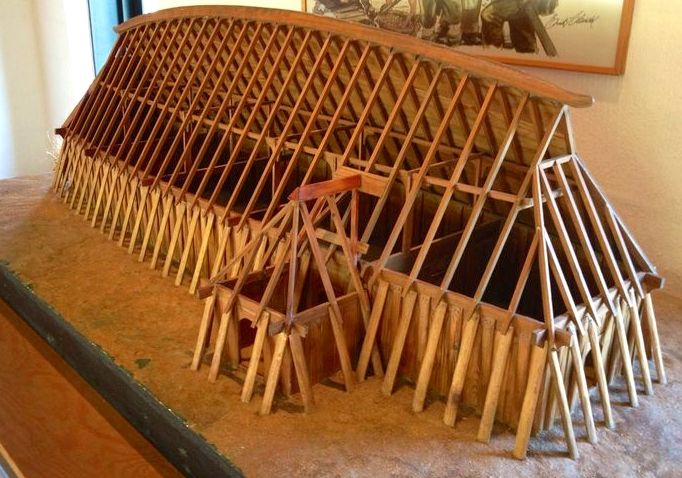 Model of viking longhouse, Fyrkat Museum, Hobro, Denmark