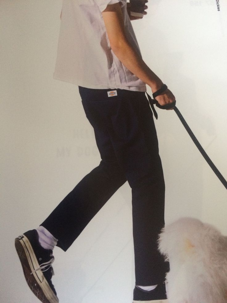 All the little details, perfectly tailored Dickies pants, white socks and black chucks!