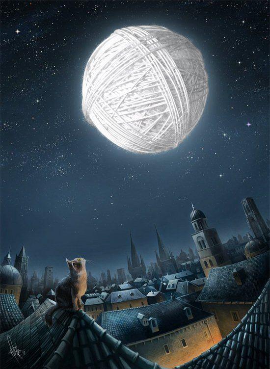 Antique Passion tumblr #illustration #cat #moon