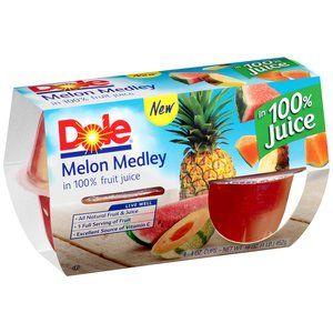 Dole Melon Medley Fruit Cups in 100% Fruit Juice, 4 oz, 4 count